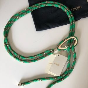 NWT Maje Rope Belt - green